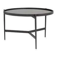 "Home Estrade 36"" Modern Round Coffee Table in Black / Firestone Glass"