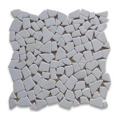 "12""x12"" Thassos White River Rocks Pebble Stone Mosaic Tile Tumbled"