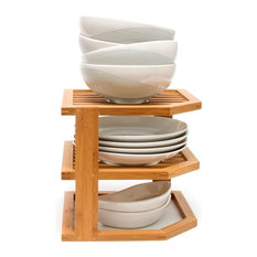 Lipper International - Bamboo Three Tier Corner Shelf - Pantry and Cabinet Organizers