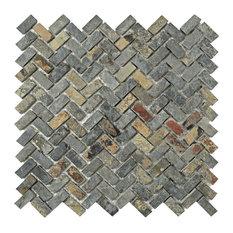 "12""x12"" Ridge Herringbone Natural Stone Floor and Wall Tiles, Sunset Slate"