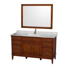 "Hatton Vanity 44"" Mirror 60"" Light Chestnut White Carrera Marble Square"
