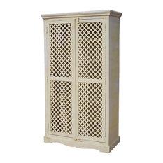 Farmhouse White Lattice Door Solid Wood Tall Storage Cabinet Armoire