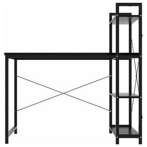 Modern Desk, Composite Wood, 4-Tier Open Shelves for Additional Storage, Black