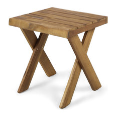 GDF Studio Irene Indoor Farmhouse Acacia Wood Side Table Teak