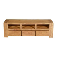 Mesa Contemporary Teak Wood 3 Drawer TV Media Stand