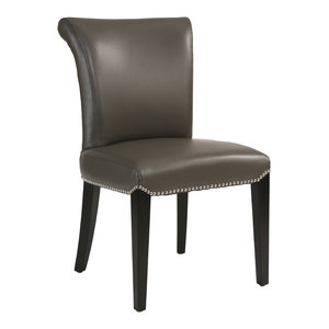 Abbyson Living Century Gray Leather Dining Chairs, Set of 2
