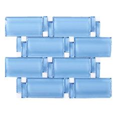 "9.75""x11.75"" Cora Oversize Glass Mosaic Tile Sheet, Blue"