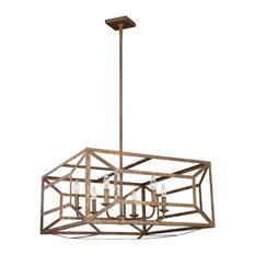 Feiss 6-Light Chandelier, Distressed Goldleaf