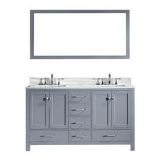 "Virtu Caroline Avenue 60"" Double Bathroom Vanity, Gray With Marble Top, Mirror"