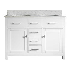 San Clemente 48 in. Vanity with Italian Carrara Marble Vanity Top, White