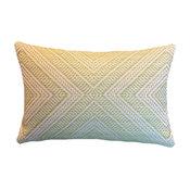 """Green on White """"X"""" / Diamond Schumacher Lumbar Pillow Cover"""