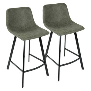 Lumisource Outlaw Bar Stools, Set of 2, Green and Black Legs