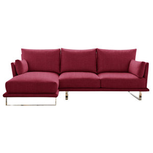 Eleanor Chaise Sofa, Magenta, 3-Seater, Left Hand Facing