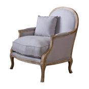 GDF Studio Lennon Weathered Hardwood Fabric Arm Chair