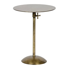 - Ahren Industrial Loft Gold Antique Brass Metal Round Side Table - Side Tables and End Tables