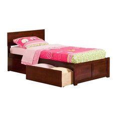 Atlantic Furniture Orlando Twin XL Storage Platform Bed, Walnut