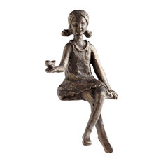 Girl Decorative Object or Figurine in Oiled Bronze