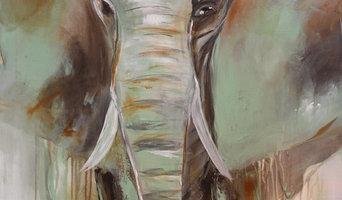 """""""Green Elephant"""" maleri på lærred, 90x70 cm."""