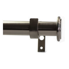 "Urbanest - 1"" Bouton Drapery Curtain Rod, Brushed Steel, 84""-120"" - Curtain Rods"