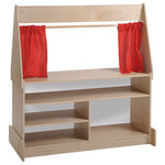 ECR4 Kids - Puppet Theater, Dry, Erase Board - It's opening night! All the world's a stage for little performers with this sturdy and fun Puppet Theater. Great for playtime; theater includes stage curtains, with marquee board above and presentation board below the stage. Choose either Flannel or Dry-Erase boards. Made from birch hardwood.