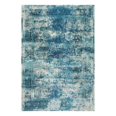 Traditional Vintage Bohemian Color Washed Floral Rug, Ocean Blue, 9'x12'