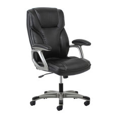 ofm essentials by ofm ergonomic highback leather chair with arms black and