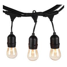 Outdoor Patio String Lights, Filament Bulbs, 15 Sockets