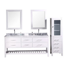 "London 72"" Double Sink Vanity Set, Pure White"