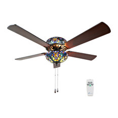 River of Goods - Tiffany Style Stained Glass Halston Ceiling Fan, Blue - Ceiling Fans