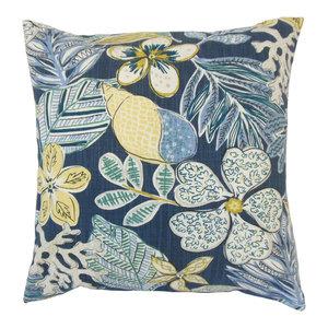 The Pillow Collection Faeyza Floral Bedding Sham Indigo Standard//20 x 26