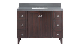 "48"" Solid Wood Sink Vanity With Gray Quartz Top"