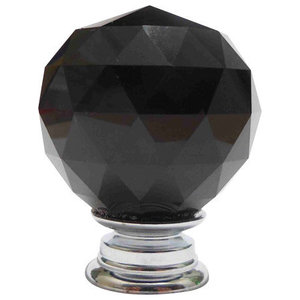 Small Black Crystal Faceted Cut Glass Knob