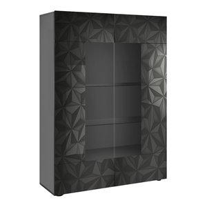 Prisma 2-Door Decorative Display Cabinet, Grey Gloss