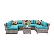 Florence 7 Piece Outdoor Wicker Patio Furniture Set, Aruba