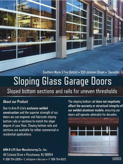 Elegant Sloped Bottom Glass Garage Doors