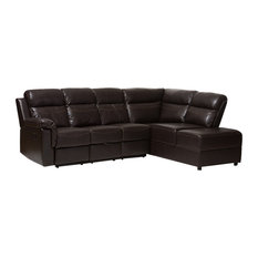 Baxton Studio   Roland Dark Brown Faux Leather 2 Piece Sectional With  Recliner, Storage