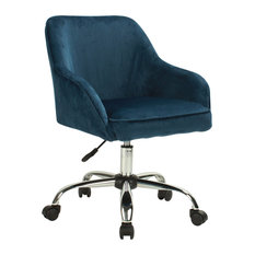 Belleze   Mid Back Velvet Office Chair With Padded Seat And Lumbar Support,  Blue