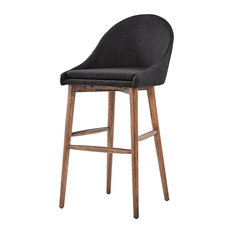 Keeler Walnut Danish Modern Stool Set Of 2 Dark Grey 29-inch Bar