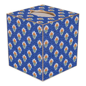 Tb37 Blue Waverly Scroll Tissue Box Cover Traditional