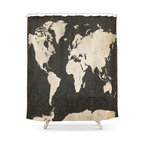 Hand Lettered Black And White US Map Shower Curtain Contemporary - Hand lettered us map black and white shower curtain