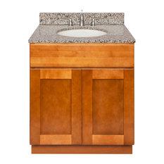 Brown Bathroom Vanity 30-inch Burlywood Granite Top Faucet LB4B