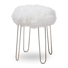 Anzy - Modern Glam-Style White Genuine Sheep Skin Ottoman - Footstools and Ottomans