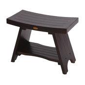 "DecoTeak Serenity 30"" Eastern Style Teak Shower Bench Stool With Shelf"