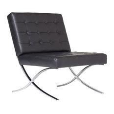 Atrium Bonded Leather Barcelona Chair, Black