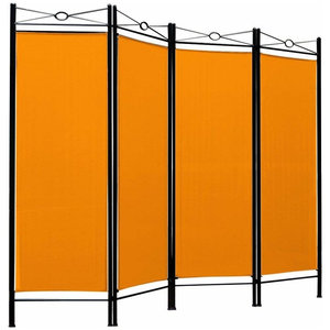 Contemporary Folding Room Divider with Black Finished Steel Frame and 4 Panels