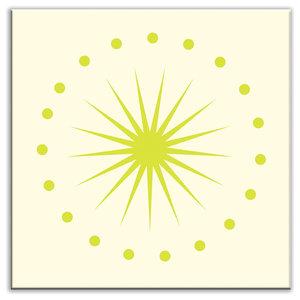 "6""x6"" Folksy Love Satin Decorative Tile, June Light Yellow Green"