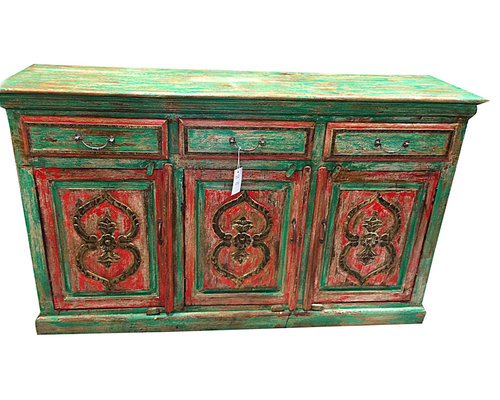 antique sideboard buffet chest green red patina dresser buffets and