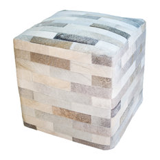Cowhide Cube Patchwork Ottoman, Gray