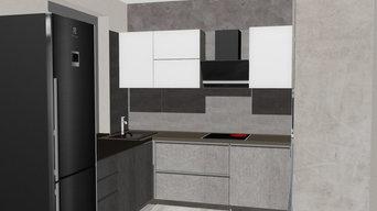 Кухня с бетонными фасадами