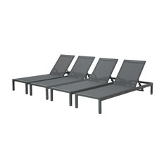 GDFStudio - Coral Bay Outdoor Aluminum Chaise Lounge With Mesh Seat, Set of 4 - Outdoor Chaise Lounges